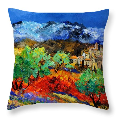 Landscape Throw Pillow featuring the painting Provence 790050 by Pol Ledent