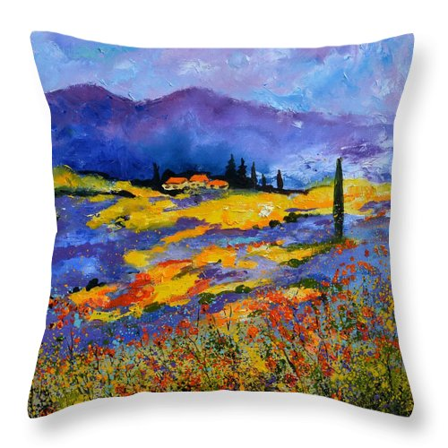 Landscape Throw Pillow featuring the painting Provence 871602 by Pol Ledent