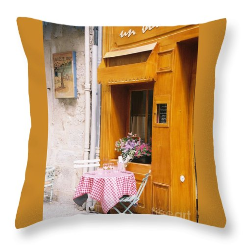 Cafe Throw Pillow featuring the photograph Provence Cafe by Nadine Rippelmeyer