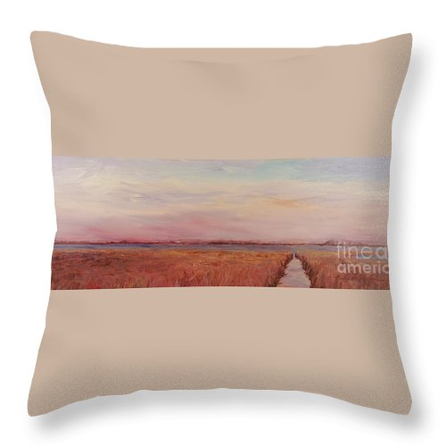 Landscape Throw Pillow featuring the painting Provence Camargue by Nadine Rippelmeyer