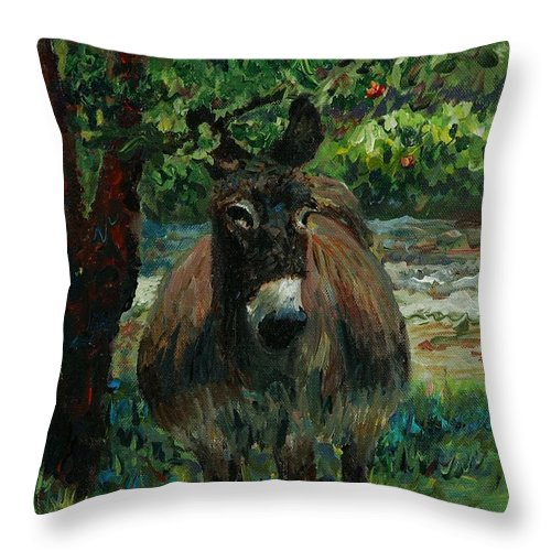 Donkey Throw Pillow featuring the painting Provence Donkey by Nadine Rippelmeyer