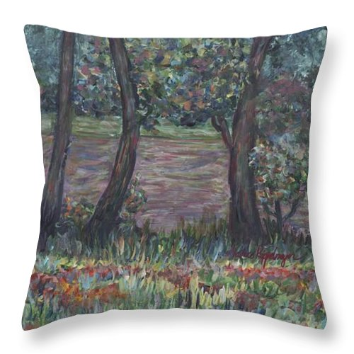 Landscape Throw Pillow featuring the painting Provence Flowers by Nadine Rippelmeyer
