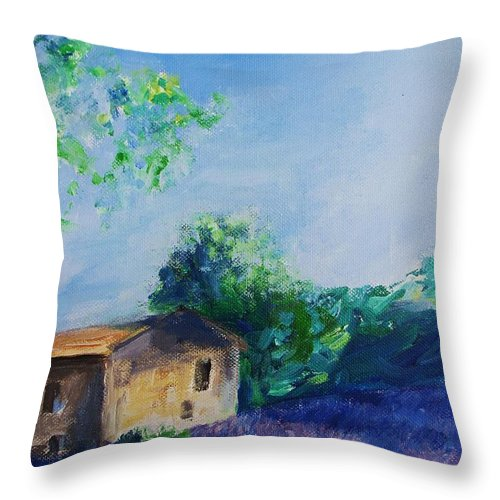 Provence Throw Pillow featuring the painting Provence House by Eric Schiabor
