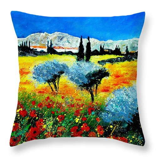 Poppies Throw Pillow featuring the painting Provence by Pol Ledent