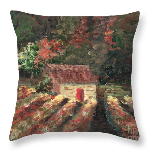 Landscape Throw Pillow featuring the painting Provence Vineyard by Nadine Rippelmeyer