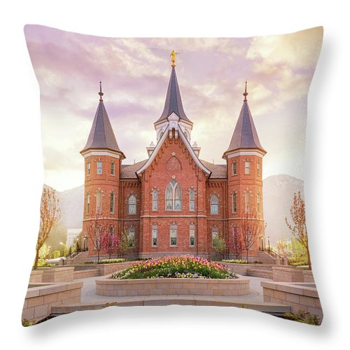 Provo City Center Utah Temple Throw Pillow featuring the photograph Provo City Center Temple Dawn by Tausha Schumann