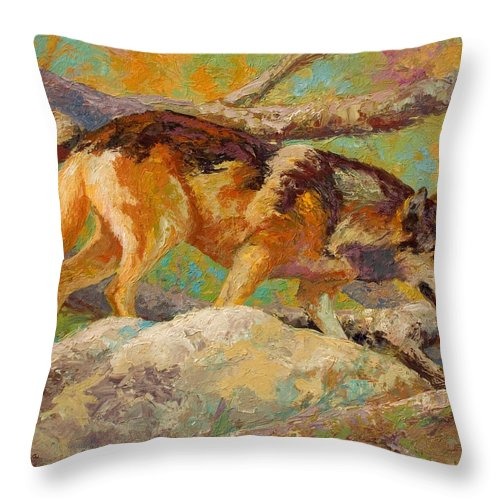 Wolf Throw Pillow featuring the painting Prowler - Grey Wolf by Marion Rose