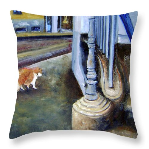 Cats Throw Pillow featuring the painting Prowling Cat by Leonardo Ruggieri