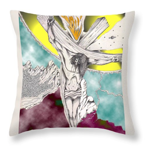Spiritual Throw Pillow featuring the digital art Psalm 22 Ch 13-15... by Marco Morales