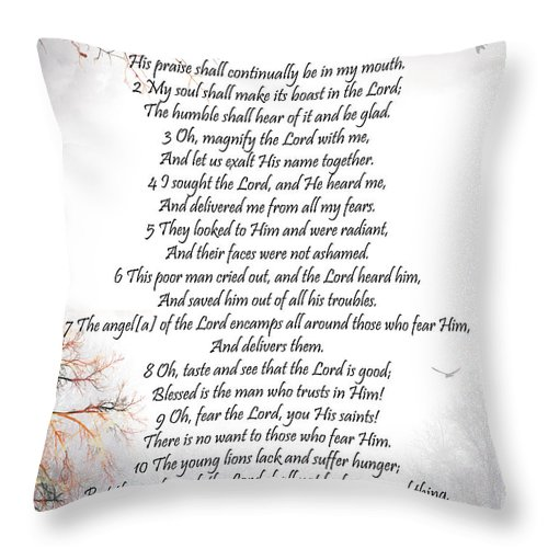 Psalm 34 Throw Pillow featuring the digital art Psalm 34 Pg 2 by Trilby Cole