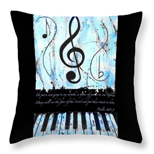 Psalm 40/3 Blue Throw Pillow featuring the mixed media Psalm 40/3 Blue by Wayne Cantrell