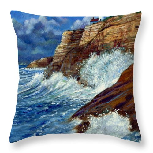 Lighthouse Throw Pillow featuring the painting Psalm Forty Three-three by John Lautermilch