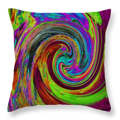 Abstract Throw Pillow featuring the painting Pscholdelic Surfs Up by Wayne Potrafka