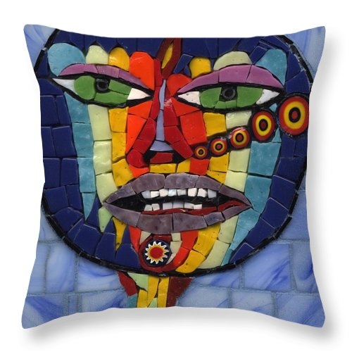 Mosaic Throw Pillow featuring the painting Psychedelic Snifter - Ff No. 16 by Gila Rayberg
