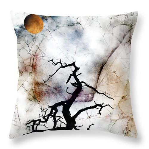 Tree Throw Pillow featuring the photograph Psychotropic Moon by Ed Hall