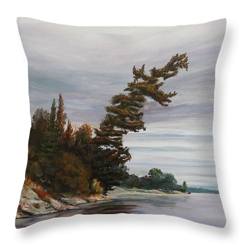 Landscape Throw Pillow featuring the painting Ptarmigan Bay by Ruth Kamenev