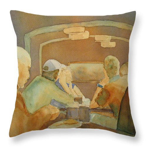 Men Throw Pillow featuring the painting Pub Talk II by Jenny Armitage