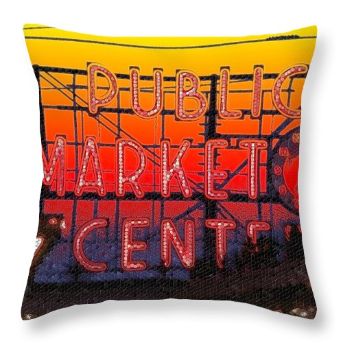 Seattle Throw Pillow featuring the photograph Public Market Mosaic 1 by Tim Allen