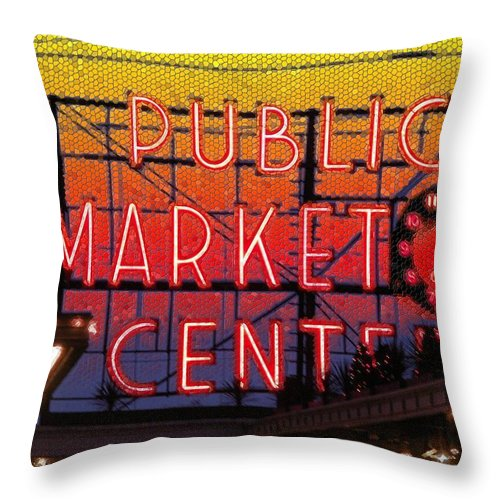 Seattle Throw Pillow featuring the photograph Public Market Mosaic 2 by Tim Allen