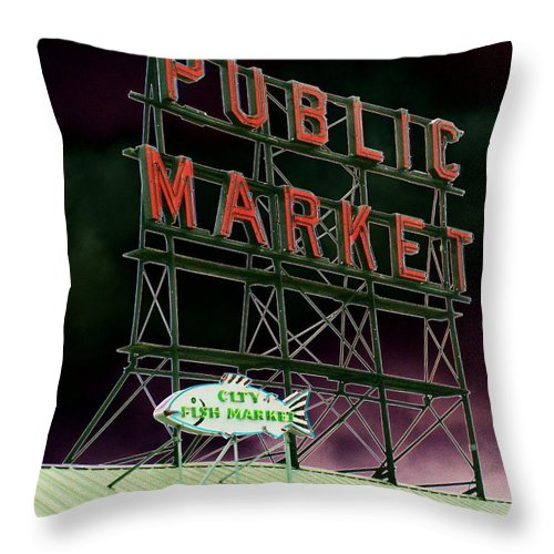 Seattle Throw Pillow featuring the photograph Public Market by Tim Allen