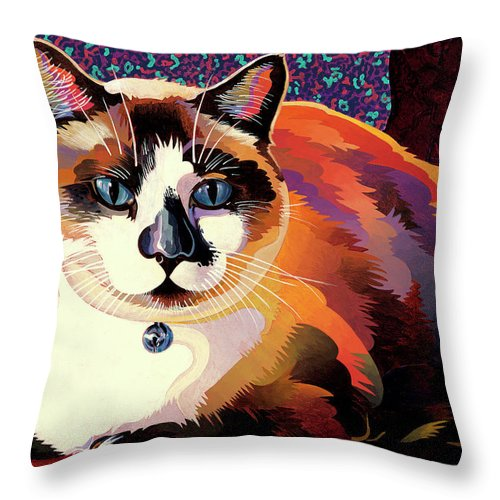 Cat Paintings Throw Pillow featuring the painting Puddin by Bob Coonts