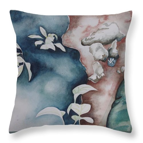 Nature Throw Pillow featuring the painting Puddle by Teresa Trimble