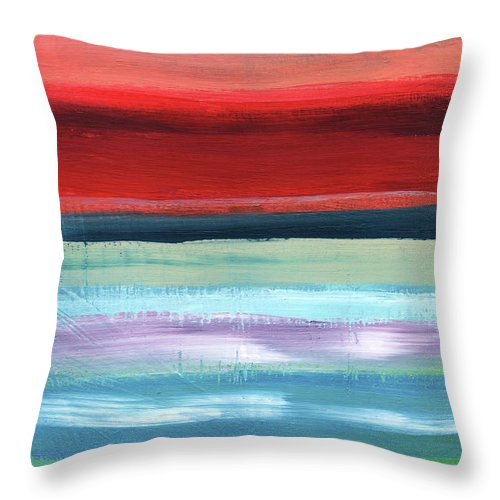 Stripes Throw Pillow featuring the painting Pueblo- Abstract Art By Linda Woods by Linda Woods
