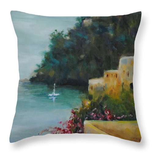 Pueblo Throw Pillow featuring the painting Pueblo Bay by Linda Hiller
