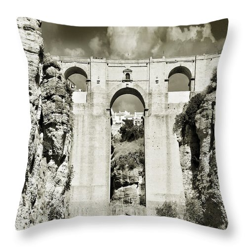 Bridge Throw Pillow featuring the photograph Puente Nuevo Tajo De Ronda Andalucia Spain Europe by Mal Bray
