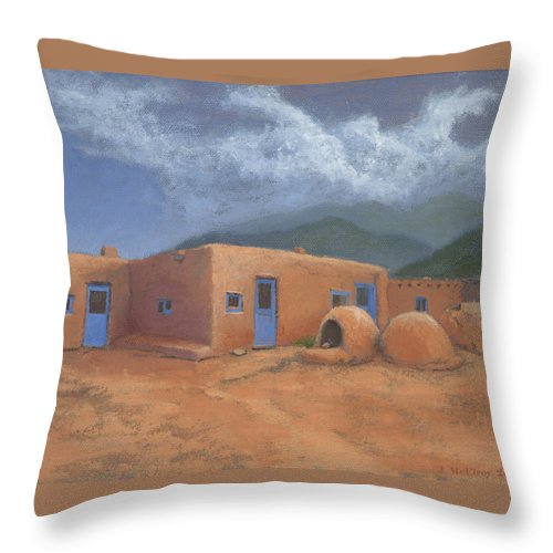 Taos Throw Pillow featuring the painting Puertas Azul by Jerry McElroy