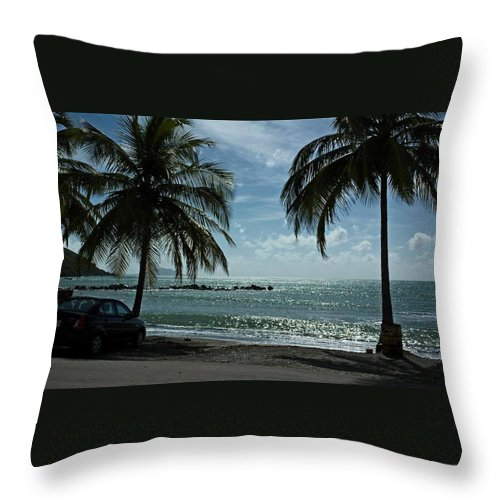 Landscape Throw Pillow featuring the photograph Puerto Rican Beach by Tito Santiago
