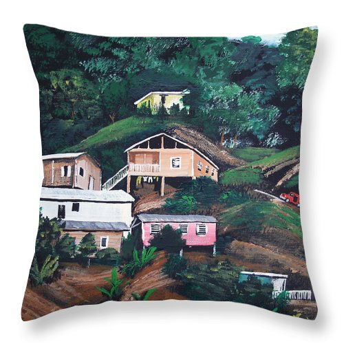 Puerto Rico Throw Pillow featuring the painting Puerto Rico Mountain View by Luis F Rodriguez