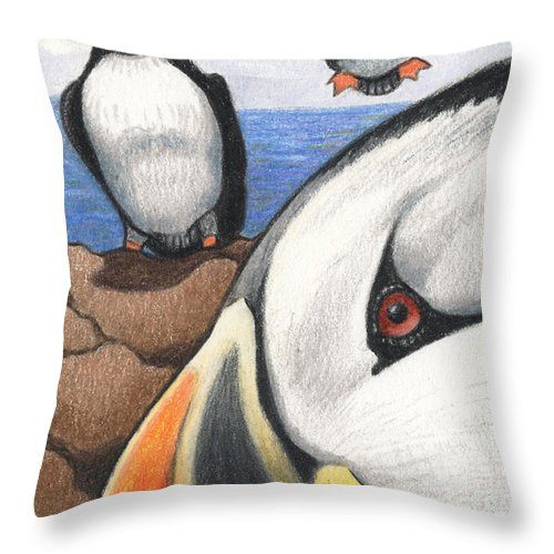Puffins Throw Pillow featuring the drawing Puffins by Amy S Turner