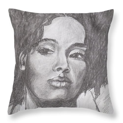 Woman Throw Pillow featuring the drawing Puffs by Jean Haynes