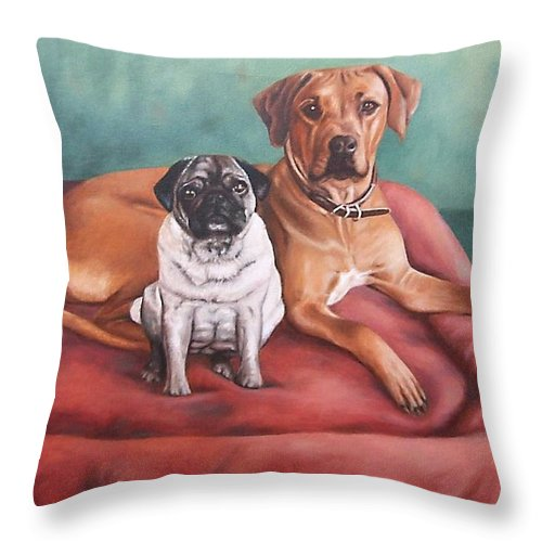Dogs Throw Pillow featuring the painting Pug And Rhodesian Ridgeback by Nicole Zeug