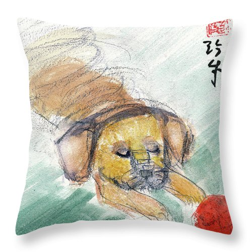Dogs Throw Pillow featuring the painting Puggle With Red Ball by Janet Gunderson