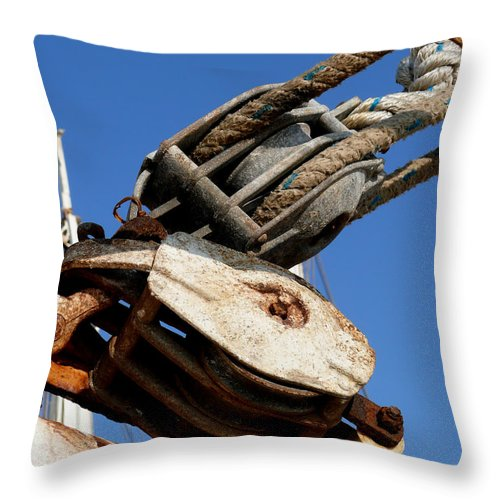 Pulley Throw Pillow featuring the photograph Pulleys by Mark Grayden