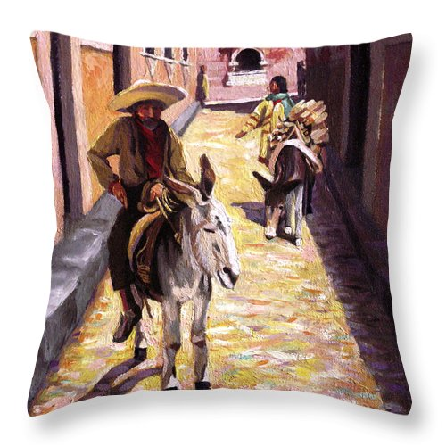 Impressionism Throw Pillow featuring the painting Pulling Up The Rear In Mexico by Nancy Griswold