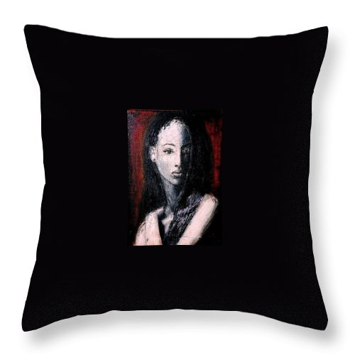 Portrait Art Throw Pillow featuring the painting Pulsar by Jarmo Korhonen aka Jarko