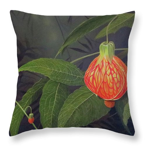 Tiger Eye Flowering Maple Throw Pillow featuring the painting Pulse by Hunter Jay