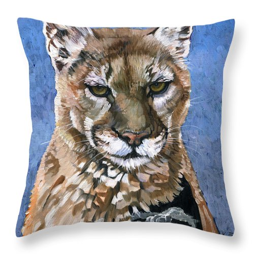 Puma Throw Pillow featuring the painting Puma - The Hunter by J W Baker