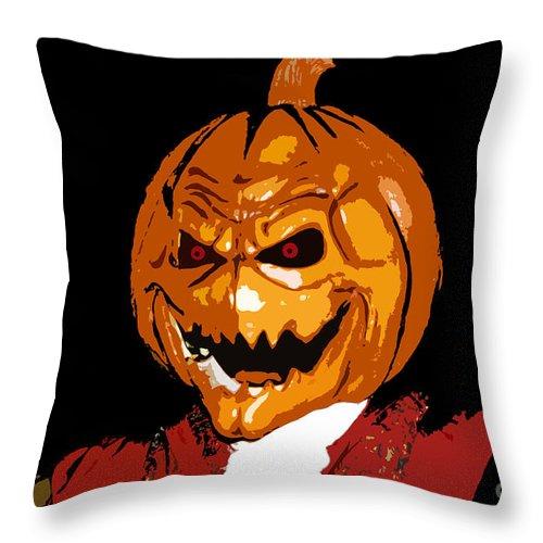 Halloween Throw Pillow featuring the digital art Pumpkin Head by David Lee Thompson