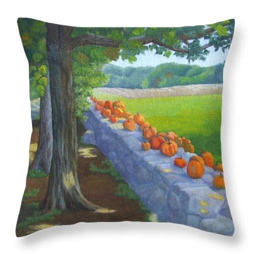 Pumpkins Throw Pillow featuring the painting Pumpkin Muster by Sharon E Allen
