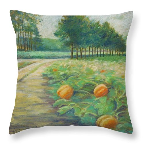 Alfred Throw Pillow featuring the pastel Pumpkin Patch by Leslie Alfred McGrath