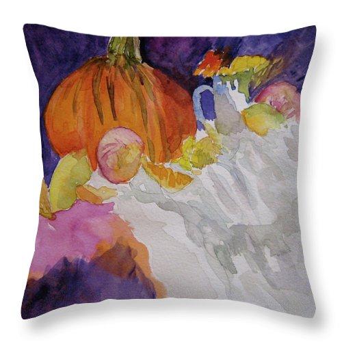 Pumpkin Throw Pillow featuring the painting Pumpkin Still Life by Beverley Harper Tinsley
