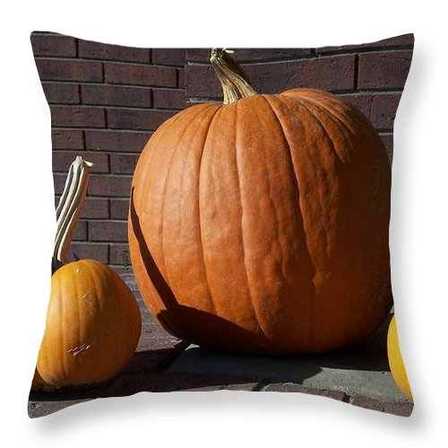 Pumpkin Throw Pillow featuring the photograph Pumpkins by Emily Young