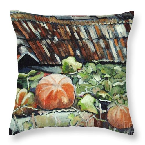 Pumpkin Paintings Throw Pillow featuring the painting Pumpkins On Roof by Seon-Jeong Kim