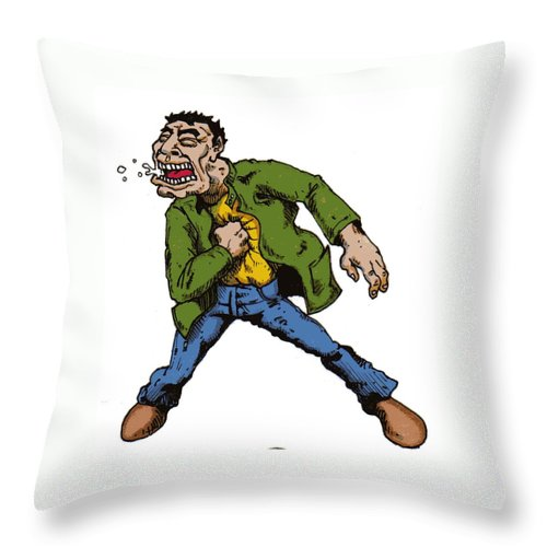 Illustration Throw Pillow featuring the drawing Punch by Tobey Anderson