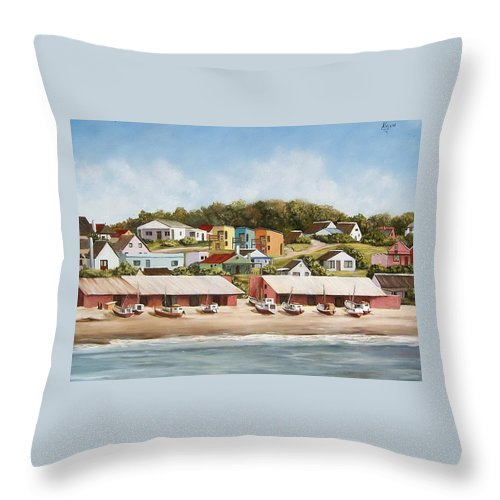 Landscape Seascape Uruguay Sea Seaside Boats Throw Pillow featuring the painting Punta Del Diablo 2 by Natalia Tejera