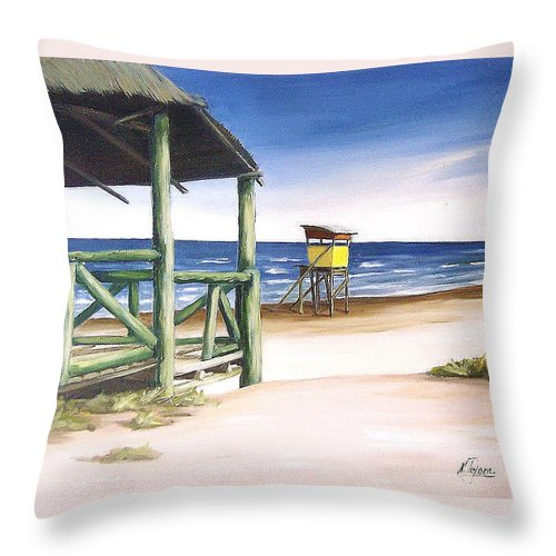 Seascape Beach Landscape Water Ocean Throw Pillow featuring the painting Punta Del Diablo S Morning by Natalia Tejera